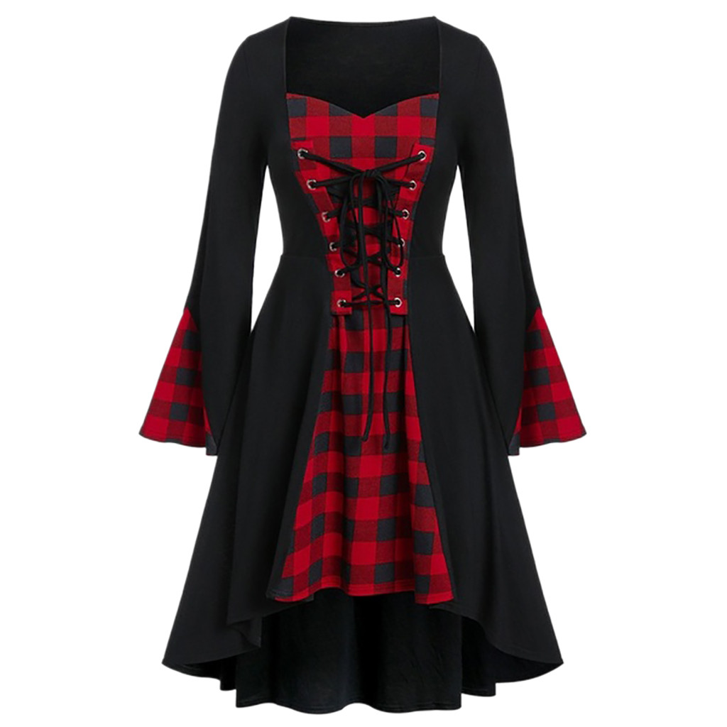 Women Plus Size Dress Halloween Lattice Lace Up Patchwork Long Sleeve Party Mini Dresses Casual Ladies bandage dress 2020