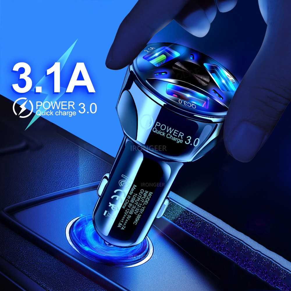 30W 3A Car Charger Quick Charge 3.0 4.0 Universal 3 USB Port Fast Charging Adapter For IPhone Samsung Xiaomi Mobile Phone In Car