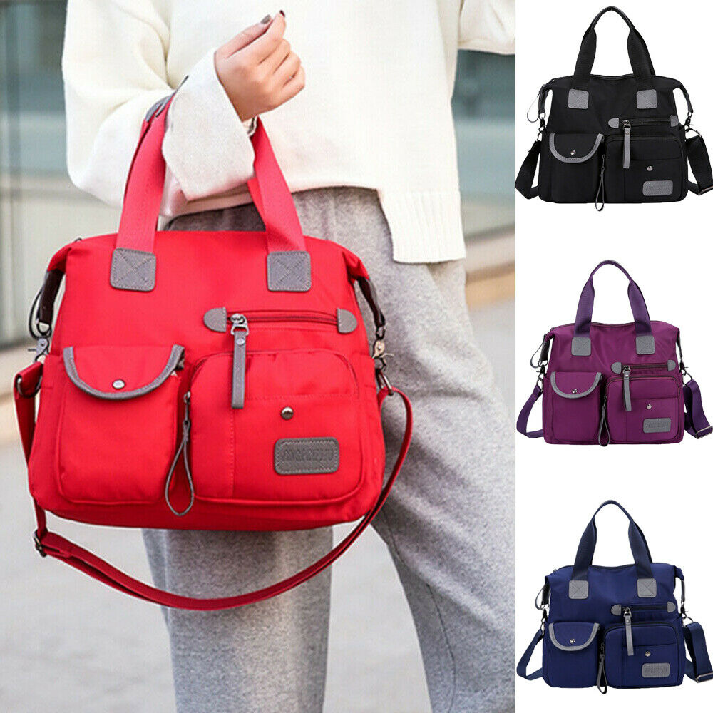 Womens Ladies Multi-Pocket Waterproof Travel Messenger Cross Body Nylon Shoulder Bag Large Capacity Tote Outdoor Camping Bags