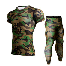 Mens Running Suits Jogging Compression Set Sports Camouflage Short Sleeve Shirt Pants MMA Fitness Clothing