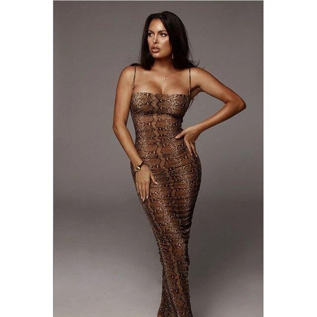 Sexy Leopard Print Snake Skin Dress Women Backless Elegant Bodycon Slim Pencil Dress Plus Size See Through Evening Party Dresses 4