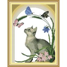 Joy Sunday Cat and Butterfly Cross Stitch Kit 14ct11ct Count