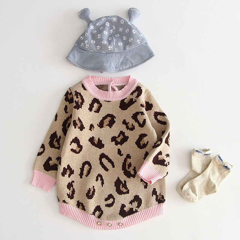Baby Girl Bodysuit 100% Cotton Leopard Autumn Newborn Baby Clothing Girl Jumpsuit Knitted Baby Clothes Baby Girl Sweater 3