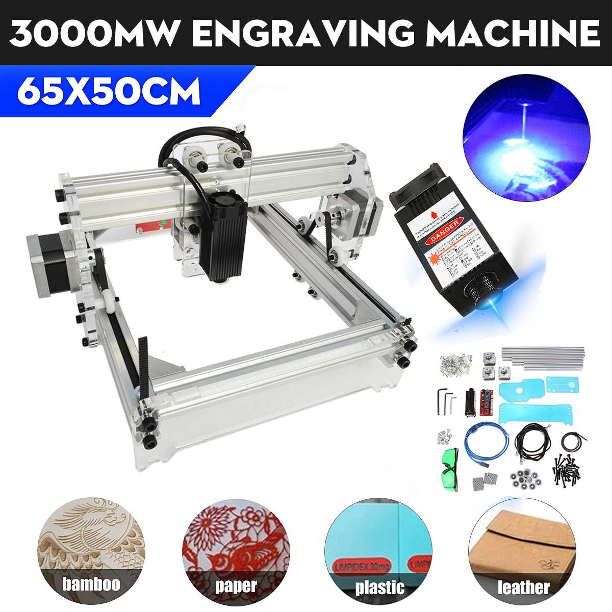 50*65cm USB 3000MW Engraving Machine Mini DIY Engraver Machine Desktop Wood Router/Cutter/Printer+ Adjustable Laser DC 12V