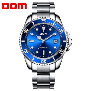 DOM Luxury Mechanical Wristwatch Men Sport Watches Relogio Masculino Stainless Steel Band Blue Clock Male Waterproof M-1310