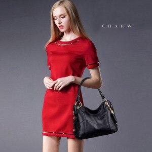 Image 2 - Fashion large tote shoulder bag women A4 leather handbags tassel big crossbody hand bags ladies red purple creamy white beige