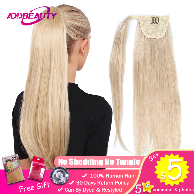 Addbeauty Ponytail Human Hair Remy Straight European Ponytail Hairstyles 80g 100% Natural Hair Clip In Extensions