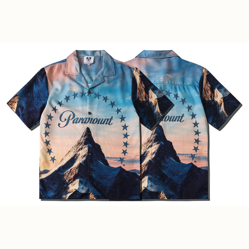 MEN'S Short-sleeved Shirt Cool Street Hiphop-Style Beach Snow Mountain Printed Letter Short-sleeved Shirt Men's