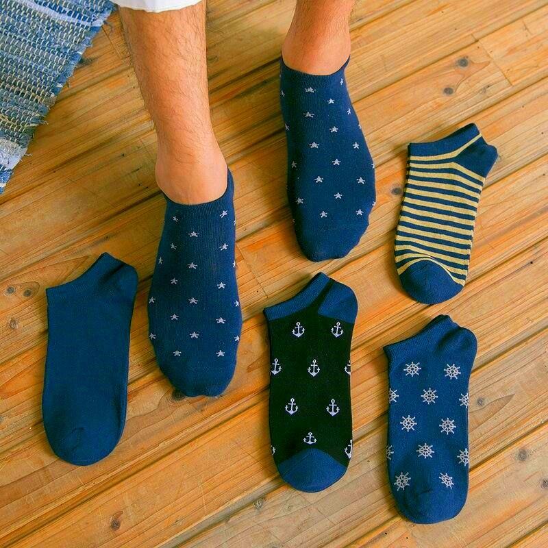 5 Pairs Men Navy Socks Fashion Breathable Stripe Anchor Star Snow Male Spring Summer Boat Socks Comfortable Cotton Ankle Socks