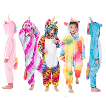 Зимние пижамы кигуруми с изображением животных, единорог, карнавальные вечерние пижамы для мальчиков и девочек, Забавный костюм с аниме, Радужный Единорог, комбинезон для детей