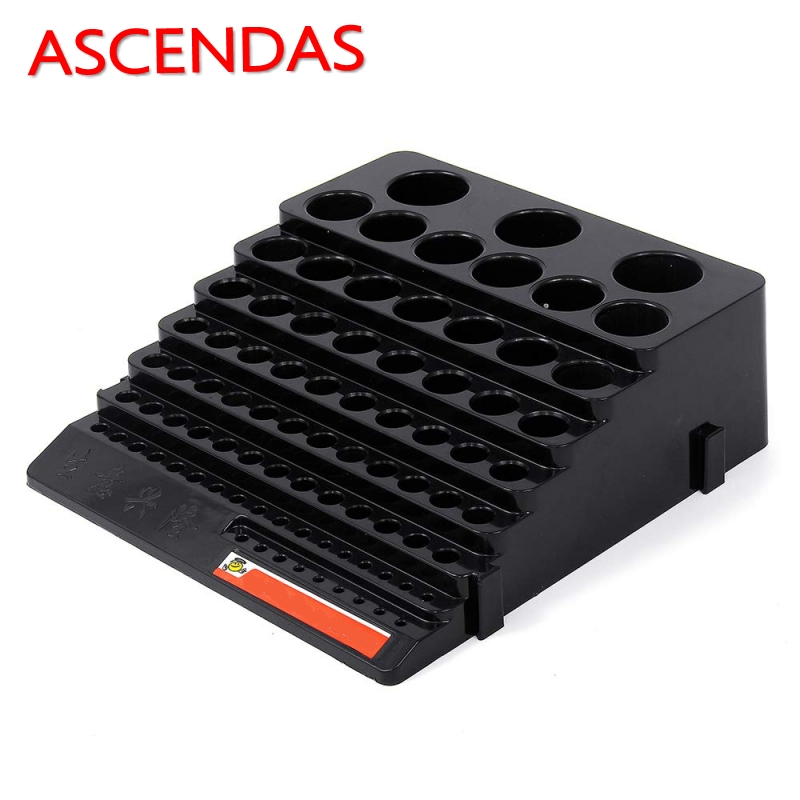 ASECNDAS Black/Yellow/Blue Multifunction Tool Storage Plastic Box Thickened Milling Cutter Drill Finishing Holder Organizer Case