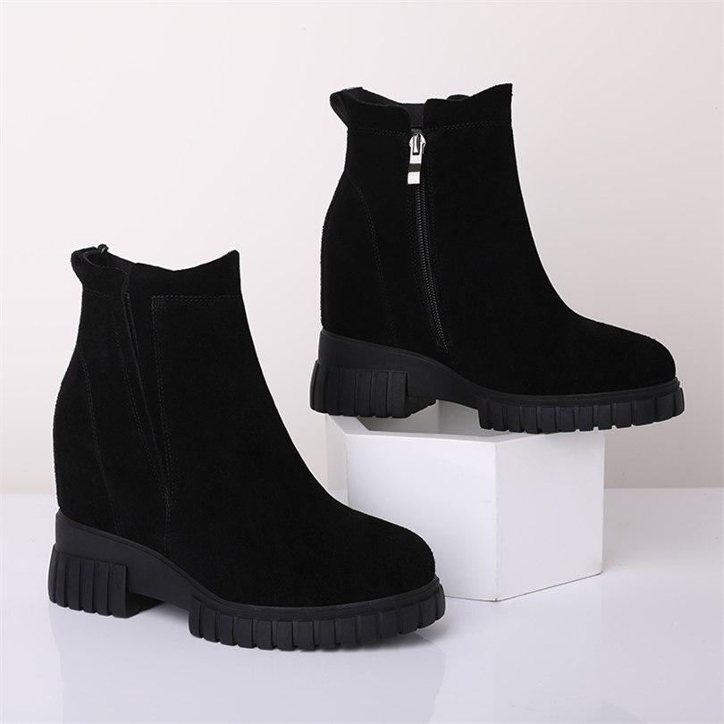 Женские черные туфли лодочки из натуральной кожи на платформе