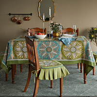 Bohemia Rose Dining Table Linens Cover Cloth Vintage Tablecloth Rectangle Round Wedding Party