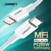 все цены на Ugreen MFi USB Type C to Lightning Cable for iPhone X XS 8 iPad Pro PD18W Fast USB C Charging Data Cable for Macbook USB C Cord онлайн