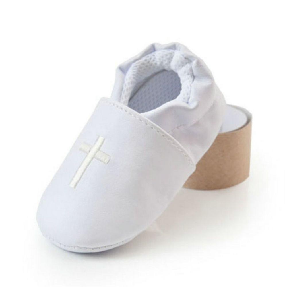 Newborn 0-18Months Baby Boys Girls Cross Baptism Christening Shoes Church Soft Sole Leather Shoes For Toddler Kids White Schoene