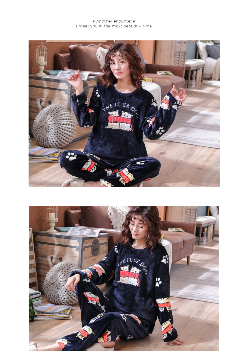 Long Sleeve Warm Flannel Pajamas Winter Women Pajama Sets Print Thicken Sleepwear Pyjamas Plus Size 3XL 4XL 5XL 85kg Nightwear 318