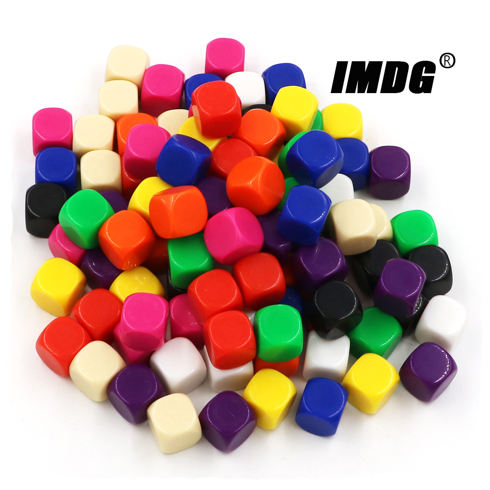 10 unidades/pacote dados em branco acrílico 16mm, multicolor #16, acessórios para jogos, ferramentas matemáticas, canto arredondado