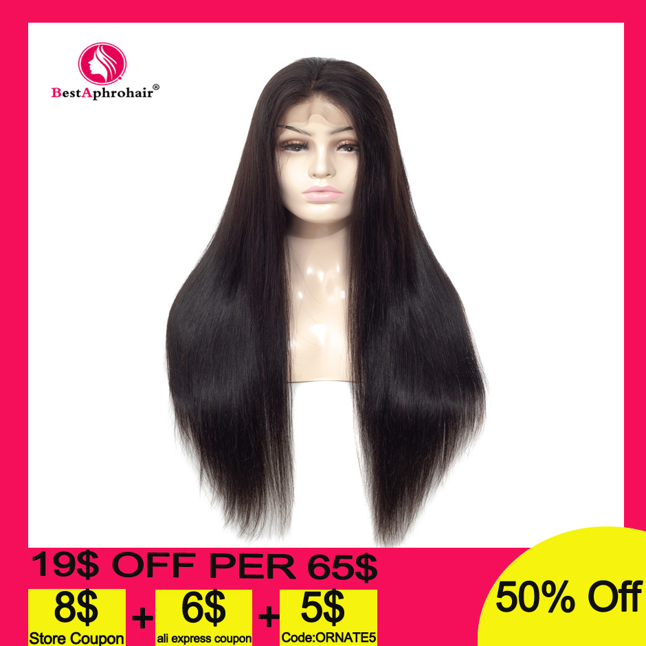 Aphro 13*4 Straight Lace Front Human Hair Wigs Brazilian Pre Plucked Remy Human Hair Wigs Baby Hair Natural Color 10-24 Inches