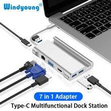 Tipo c docking station para hdmi 4k usb 3.0 vga rj45 pd usbc hub para portátil macbook pro hp superfície dell lenovo samsung dex estação