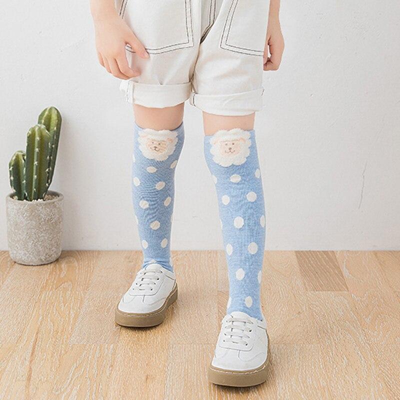 Cute Stripe Dot High Knee Kids Socks Cartoon Sheep Long Cotton Socks Girls Boys Leg Warm Stockings Children  3-8T Calcetines