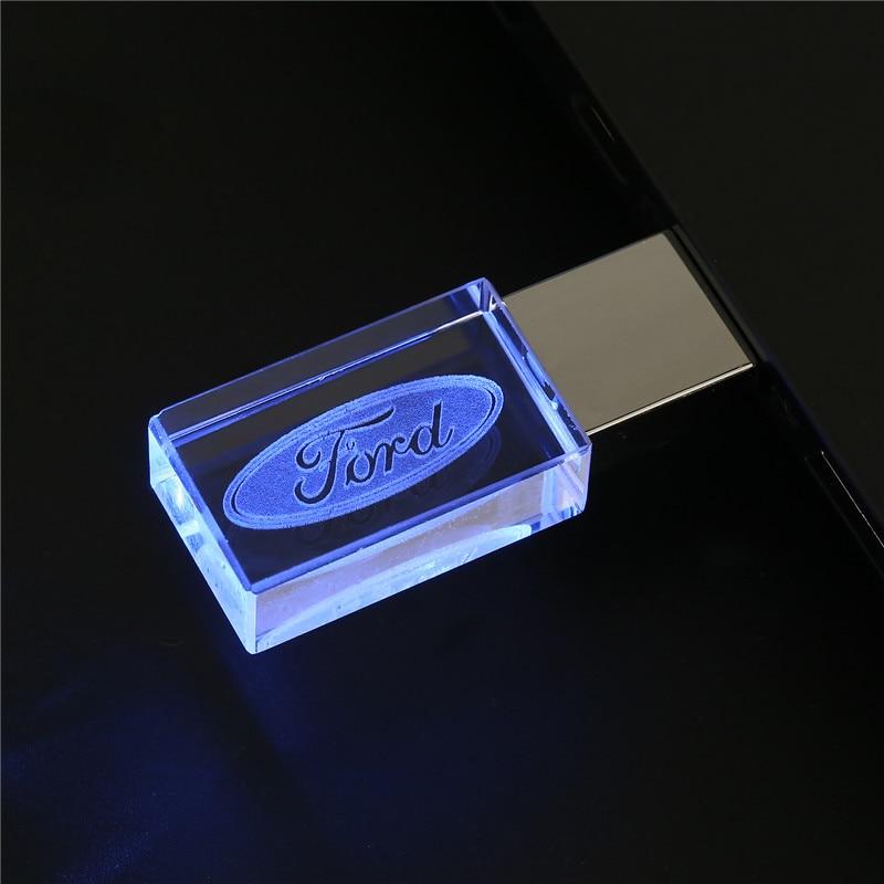 Ford Kristal Metalen Usb Flash Drive Pen Drive 4Gb 8Gb 16Gb Pendrive 32Gb 64Gb 128gb Externe Opslag Memory Stick U Disk 1