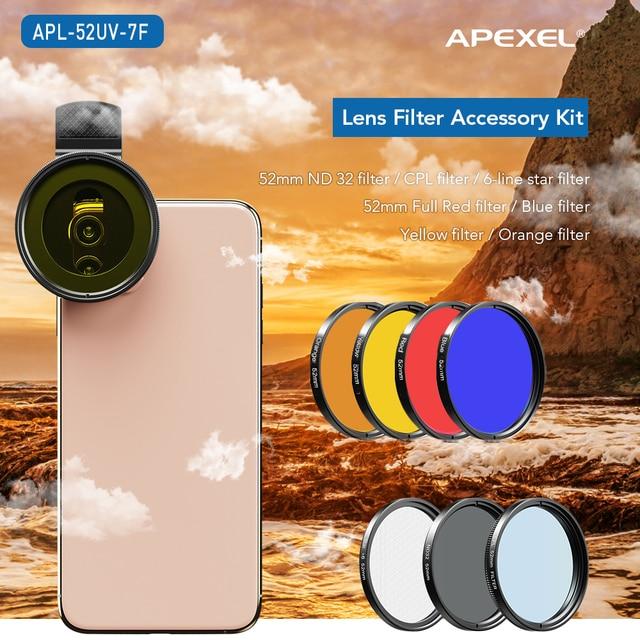 APEXEL 52 мм 7 в 1 полный комплект фильтров для объектива ND CPL Star полный красный желтый цветной фильтр для объектива камеры для Canon всех смартфонов