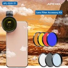 APEXEL 52 มม.7in1 Full ชุดเลนส์กรอง ND CPL Star Full สีแดงสีเหลืองเลนส์กล้องเลนส์สำหรับ Canon สมาร์ทโฟน APL 52UV 7F