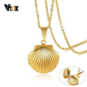 Vnox Beauty Shell Photo Frame Pendant for Women Memorial Necklace Gold Color Stainless Steel Keepsake Gifts for Her