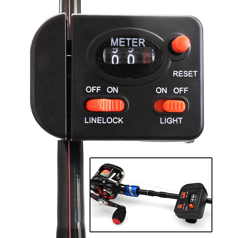 Fishing Digital Display Fishing Line Length Counter  Fishing Line Depth Finder With Light Clip Rod Professional Fishing Tackle