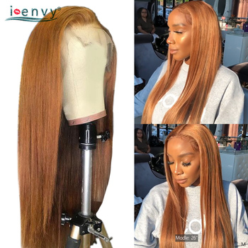 Ginger Blonde Lace Front Wig Straight Pre Plucked Peruvian 13X4 Lace Front Wigs Human Hair For Black Women Lace Wig Non-Remy alimice straight lace front wig 13x4 peruvian human hair wigs 150% glueless front lace wig for women pre plucked bleached knots