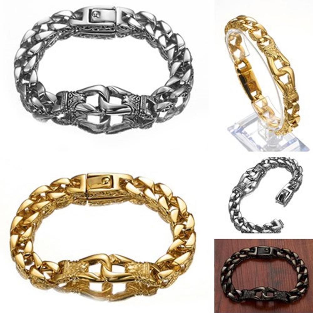 Granny Chic Fashion Stainless Steel Bracelet Chain 2019 Party Gift Men Biker Jewelry Rock Punk