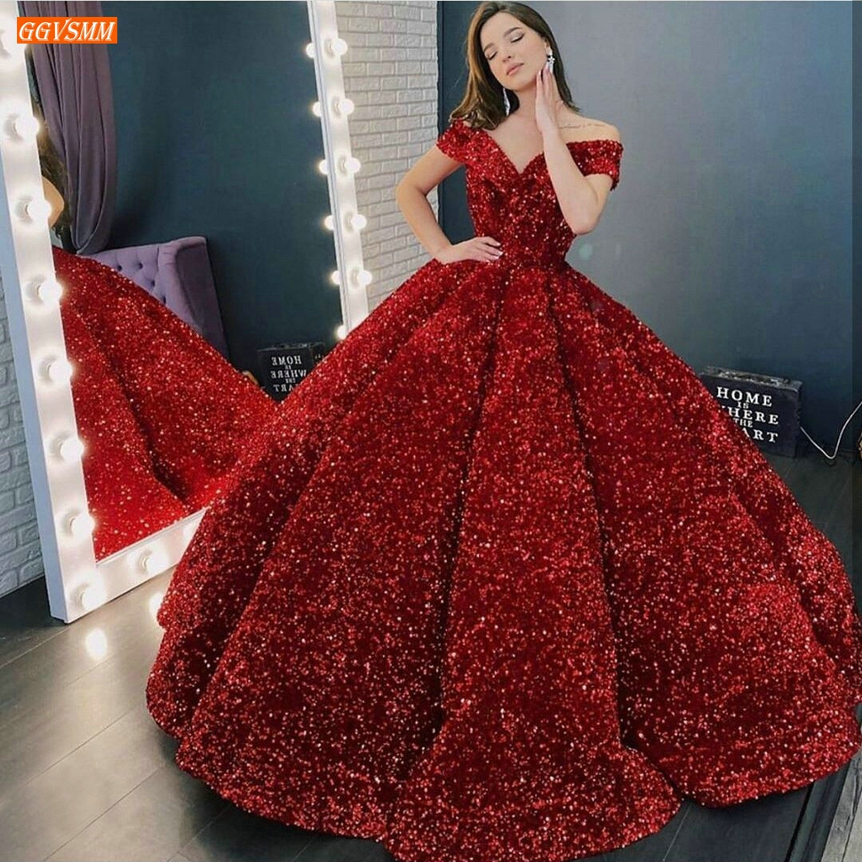 Glitter Dark Red Evening Gows Pageant Off Shoulder Sequined Lace Up Ball Gown Evening Dresses Long Custom Made Gala Formal Dress