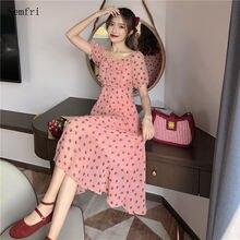 Платье semfri женское шифоновое в горошек винтажная французская