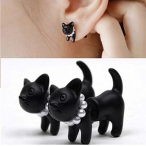 Hot punk rock style Korean earrings Bijoux new fashion earrings personality pearl puncture black kitten earrings (single bag)(China)