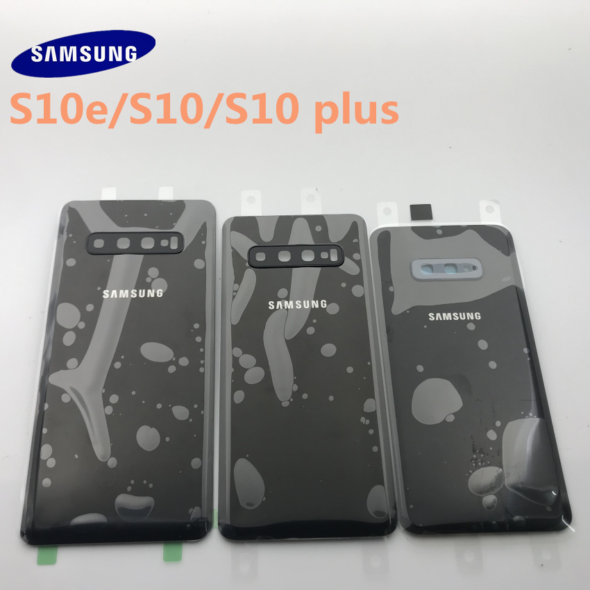 new Samsung Galaxy S10 S10e S10 plus Battery Back Cover Door Housing Replacement Repair Parts + ear Camera Glass Lens Frame image