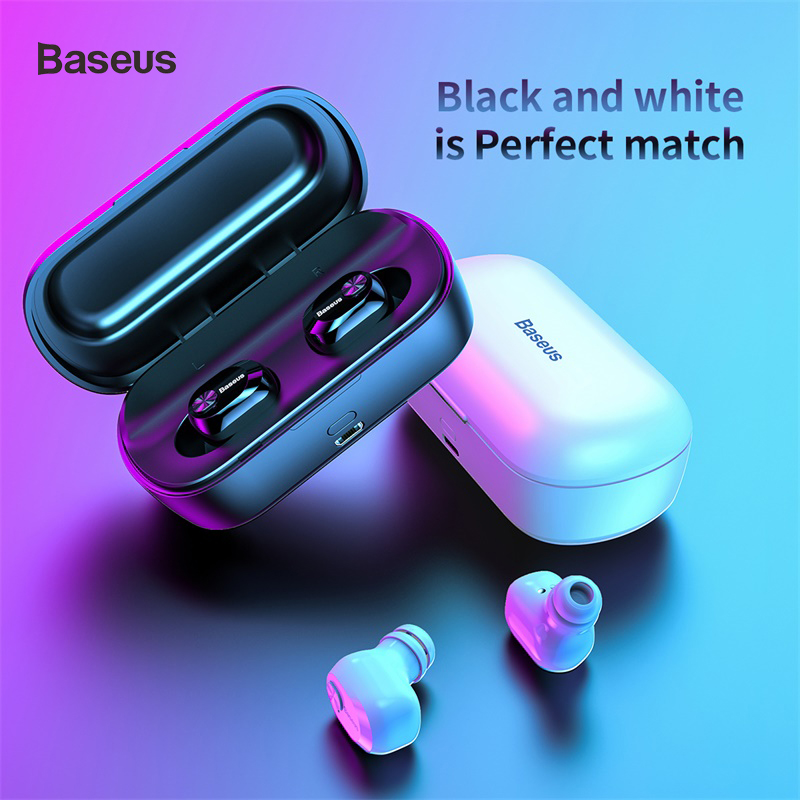 Baseus W01 TWS True Wireless Bluetooth Earphone 5.0 Smart Wireless Headphone With Mic 6D Stereo Sound Earbuds Headset For Phone