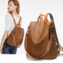 Backpack Female 2020 New Korean Style Cool Student Street Anti-Theft Bag All-match Fashion Casual Soft Leather Backpack tide fashion female korean backpack all match shoulders