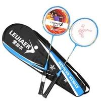 LEIJIAER 2Pcs Ferroalloy Badminton Racket Durable Competition Plume Tension 17 19 Lbs Badminton Racket Sport Equipment
