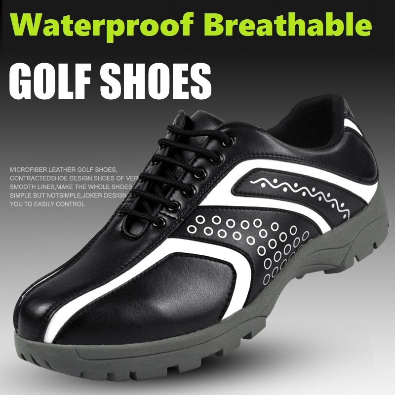 Masculino à Prova Sapatos de Golfe Masculinos de Treinamento Resistente ao Desgaste Tênis de Golfe Dwaterproof Água Spikeless Antiderrapante Respirável Esportes Sapatos 2020 –