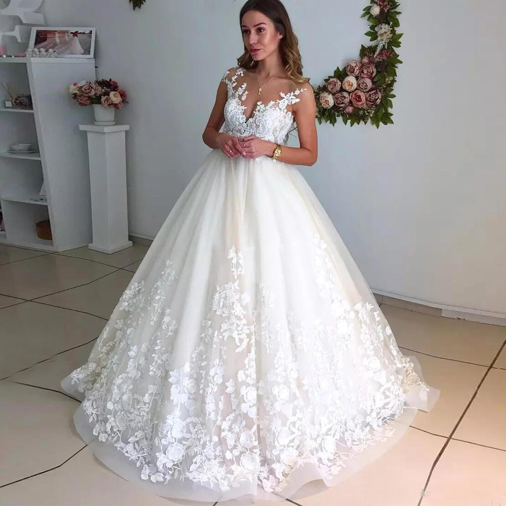 Classic Jewel Cap Sleeve Lace Wedding Dresses Backless Appliqued Bridal Gown Customized Vestidos De Novia Ball Gown Bride Dress