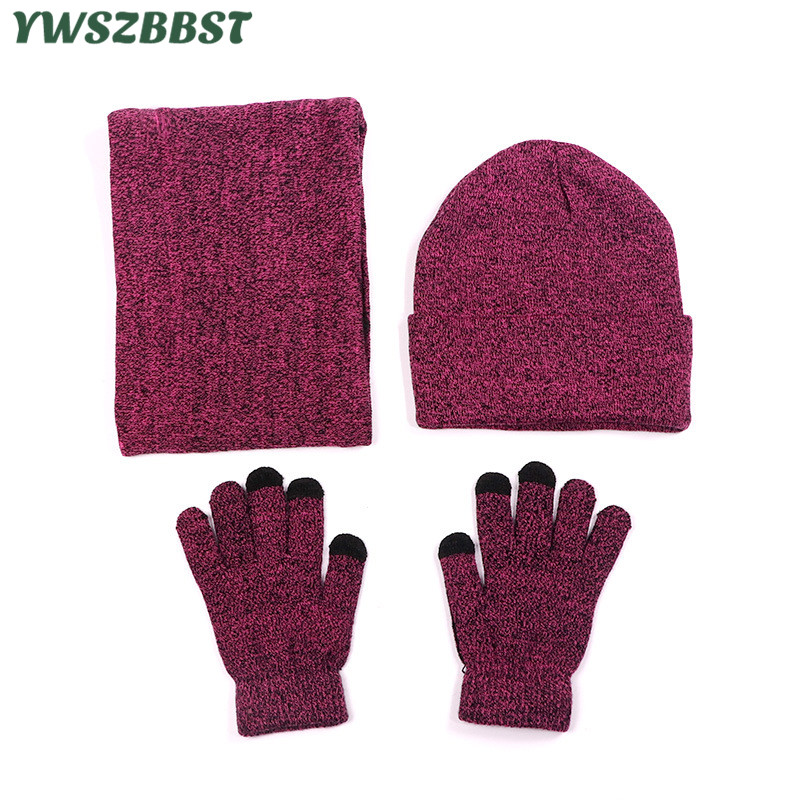 New Fashion Autumn Winter Women Scarf, Hat & Glove Sets Women Neck Scarf Warm Cap Lady Beanies Sets Plus Velvet Hat Scarf Gloves