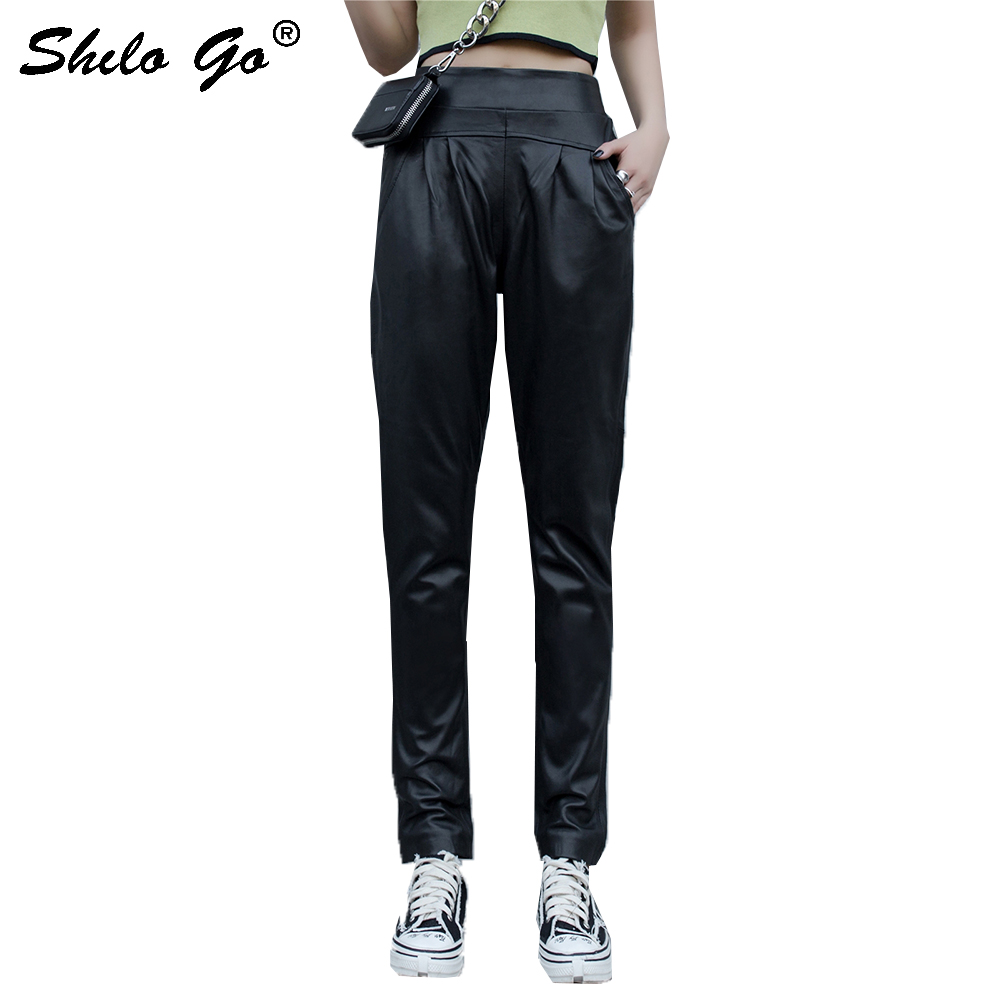 Genuine Leather Pants Black Minimalist High Waist Pocket Trousers Women Autumn Casual Solid Office Lady Workwear Straight Pants