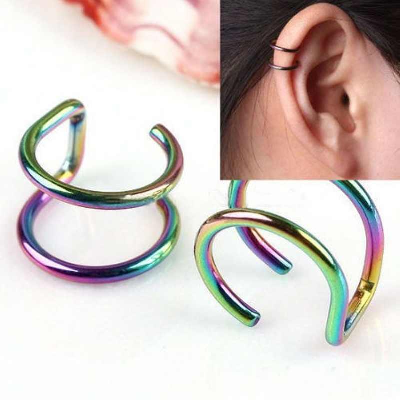 קליפ על עגילי שרוול גברים Eardrop אוזן קליפ 1 זוג יוניסקס נשים ללא פירסינג סחוס חם חדש שיק