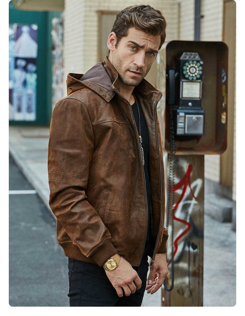 H7531fe905f934635ab705bf6403bdcc9y New Men's Winter Jacket Made Of Genuine Pigskin Leather With A Hood, Pigskin Motorcycle Jacket, Natural Leather Jacket