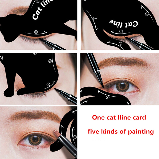 Hot Sale Eyebrow Stencils Cat Eyeliner Model Stencil Kit Guide Template Maquiagem Double Wing Eye Shadow Frame Card Makeup Tools 1