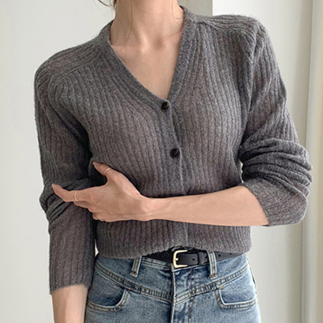 Ailegogo 2020 Autumn Winter Women's V-Neck Sexy Knitwear Stylish Knitted Button Cardigans Korean Lady Sweaters SWC2205 4