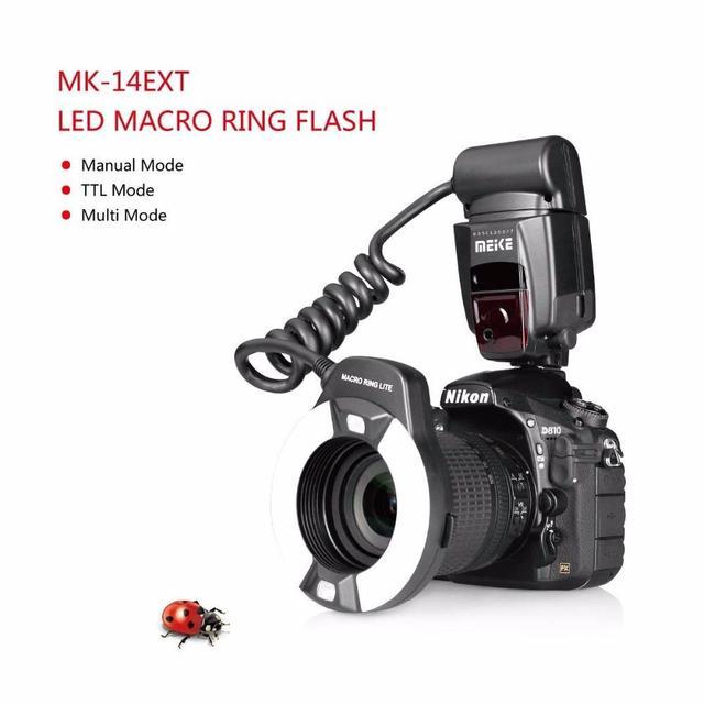 Meike MK-14EXT i-ttl Macro lumière annulaire Flash pour Nikon D5600 D5200 D5100 D5000 D3200 D3100 D90 D750 D600 avec LED lampe dassistance AF