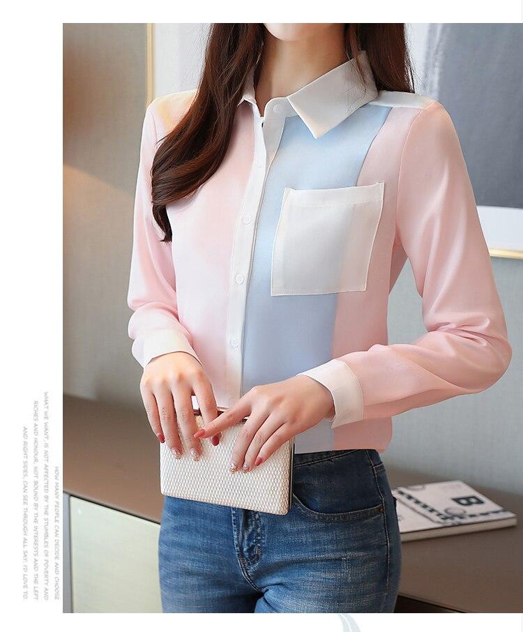 2020 summer Fashion Women Chiffon Blouses Office Lady Shirts Long Sleeve Pocket Women Tops Casual Spliced Womens blusas Clothing 7