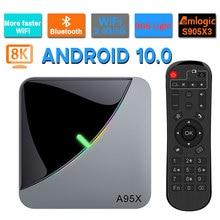 A95X Aria di RGB Della Luce di Android 10.0 TV BOX 8K 4K Youtube Amlogic S905X3 wifi 2GB 4GB 16GB 32GB 64GB Molto Veloce Set Top Box TV