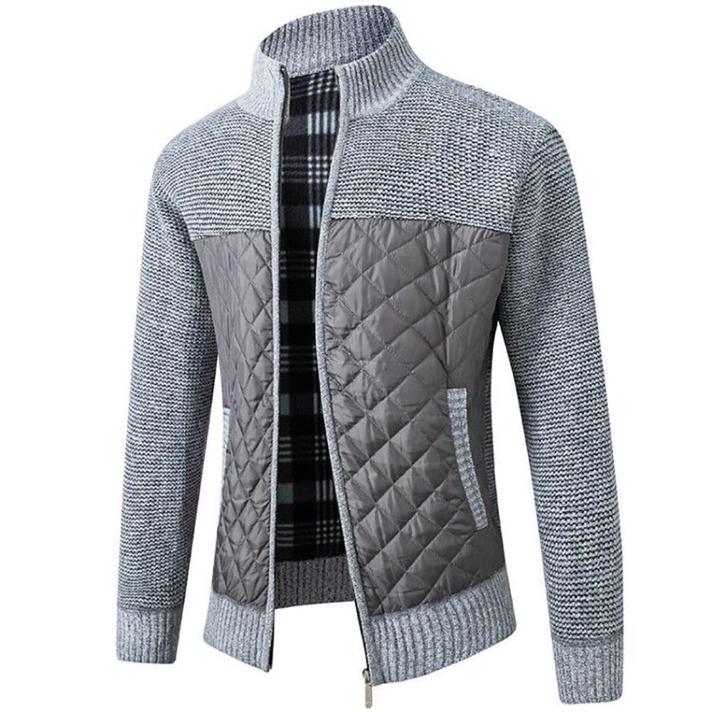 2021 Casual Men Autumn Zip Thick Knitted Sweater Pockets Warm Slim Cardigan Coat мужская куртка 3